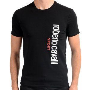 "Roberto Cavalli ""SPORT"" Mens Black Stretch T-Shirt"